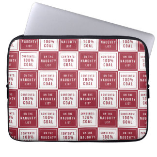 Naughty List 100% Coal | Red & White Christmas Laptop Sleeve