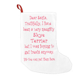 Naughty Skye Terrier Small Christmas Stocking