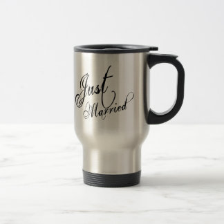 Naughy Grunge Script - Just Married Black Travel Mug