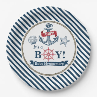 Nautical Ahoy It's A Boy Baby Shower Paper Plates