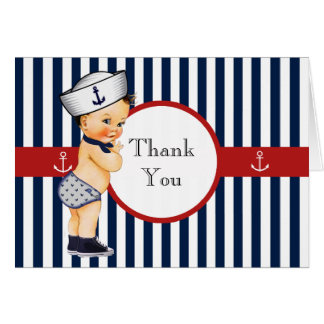 Nautical Ahoy It's a Boy Baby Shower Thank You Greeting Card