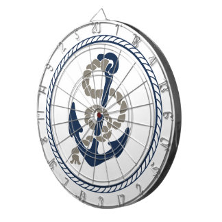 Nautical Anchor And Rope Sailing Themed Dartboard With Darts