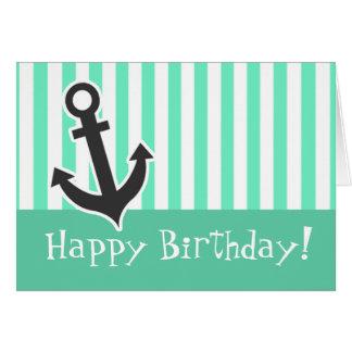 Nautical Anchor; Aquamarine Seafoam Green Stripes Card