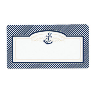 Nautical Anchor Boat Diagonal Stripes Swirl Modern Shipping Label