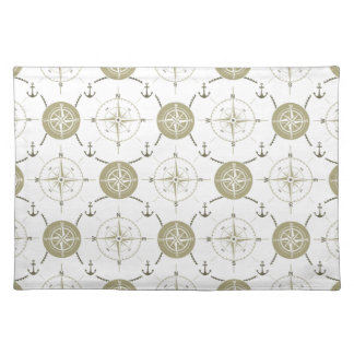 Nautical Anchor Compass taupe white brown ocean Placemat