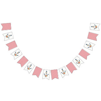 Nautical Anchor Floral Baby Girl Shower Party Bunting