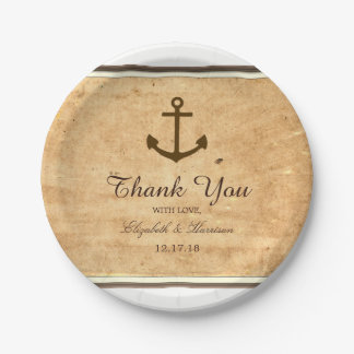 Nautical Anchor Framed Vintage Paper Wedding 7 Inch Paper Plate
