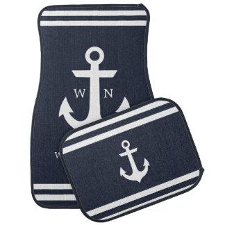 Nautical Anchor Monogram Car Mats