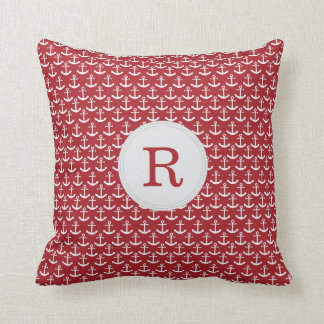 Nautical Anchor Monogram Pattern Pillow in Red