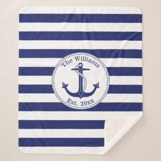 Nautical Anchor Navy Blue Stripes Family Name Sherpa Blanket