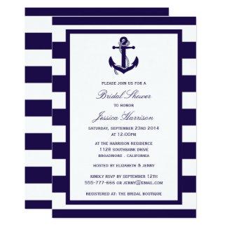 Nautical Anchor Navy Stripe Bridal Shower Card
