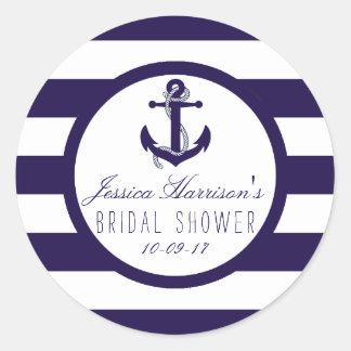 Nautical Anchor Navy Stripe Bridal Shower Favour Round Sticker