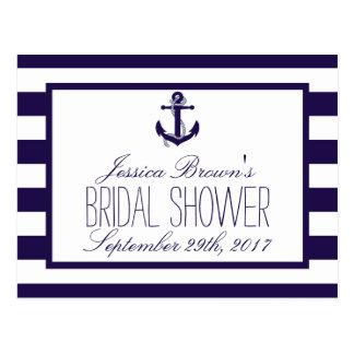 Nautical Anchor Navy Stripe Bridal Shower Recipe Postcard
