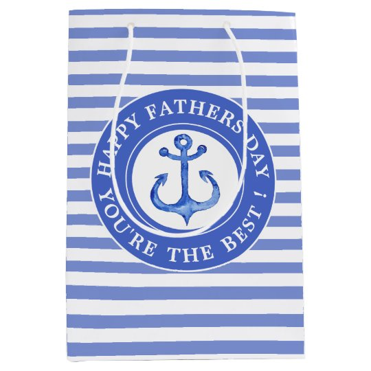 Nautical Anchor Navy Striped Father's Day Gift Bag