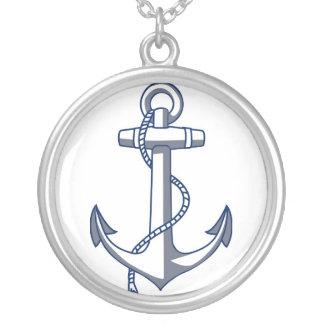 Nautical Anchor Ocean Sea Theme Round Pendant Necklace
