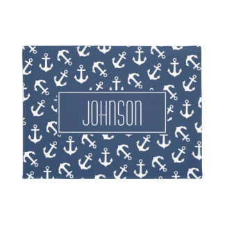 Nautical Anchor Pattern Navy Blue Custom Doormat