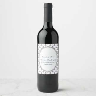 Nautical Anchor Pattern Pearl 2V Wine Label