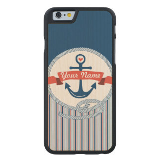 Nautical Anchor Rope Ribbon Stripes Red White Blue Carved® Maple iPhone 6 Slim Case