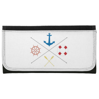 Nautical Anchor Sail Sailing Boat Ore Steer Wallet