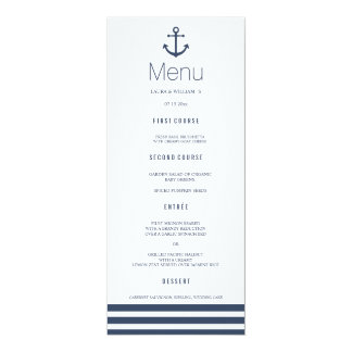 Nautical Anchor & Striped Wedding Dinner Menu Card 10 Cm X 24 Cm Invitation Card