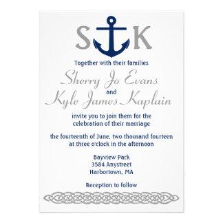 Nautical Anchor Wedding Invitation Navy and Gray