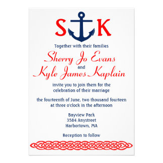 Nautical Anchor Wedding Invitation Navy and Red