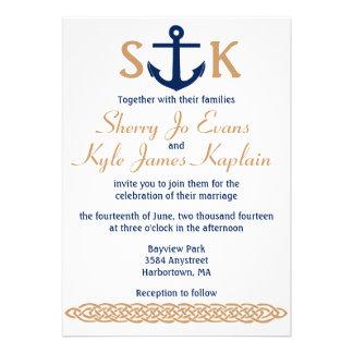 Nautical Anchor Wedding Invitation Navy and Tan