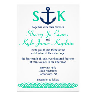 Nautical Anchor Wedding Invitation Navy and Teal