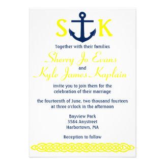 Nautical Anchor Wedding Invitation Navy and Yellow