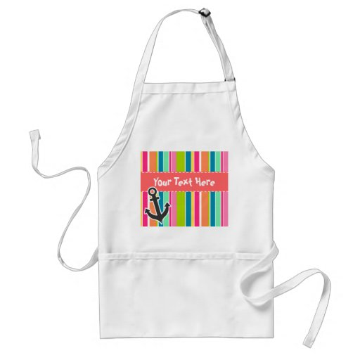Nautical Anchor with Colorful Stripes Aprons