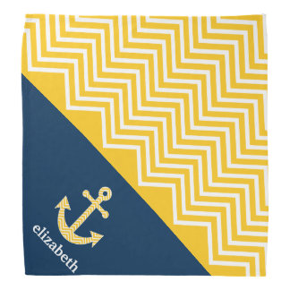 Nautical Anchor with Navy Yellow Chevron Pattern Bandannas