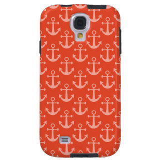Nautical Anchors in Coral Pink Pretty Pattern Galaxy S4 Case