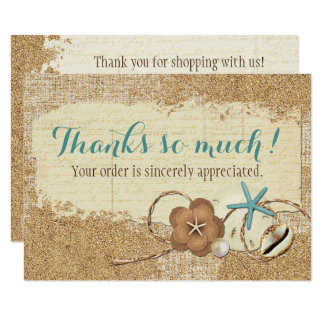 Nautical Beach Seashell & Sand Boutique Thank You Card