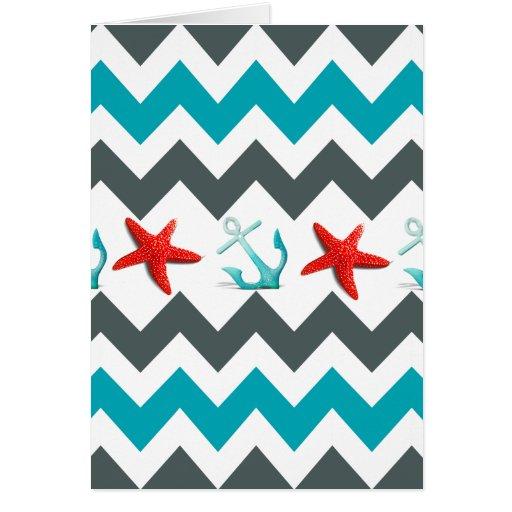 Nautical Beach Theme Chevron Anchors Starfish Greeting Cards