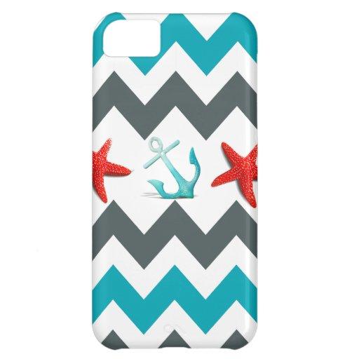 Nautical Beach Theme Chevron Anchors Starfish Case For iPhone 5C