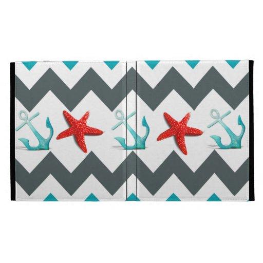 Nautical Beach Theme Chevron Anchors Starfish iPad Case
