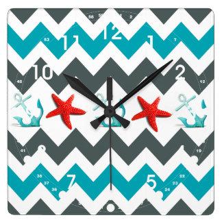 Nautical Beach Theme Chevron Anchors Starfish Square Wall Clock