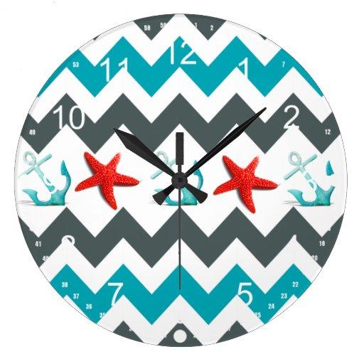 Nautical Beach Theme Chevron Anchors Starfish Clocks