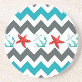 Nautical Beach Theme Chevron Anchors Starfish Drink Coasters