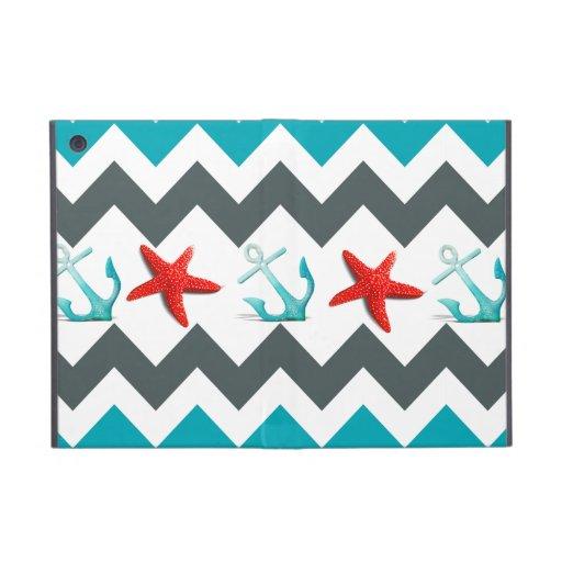 Nautical Beach Theme Chevron Anchors Starfish Case For iPad Mini