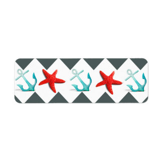 Nautical Beach Theme Chevron Anchors Starfish Return Address Label