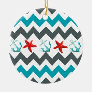 Nautical Beach Theme Chevron Anchors Starfish Round Ceramic Decoration