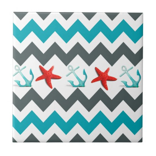 Nautical Beach Theme Chevron Anchors Starfish Tile