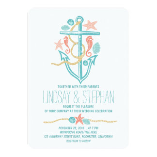 Nautical beach wedding invitations