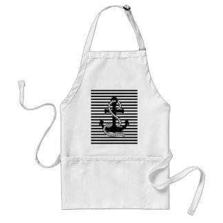 Nautical Black White Stripes and Black Anchor Standard Apron