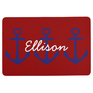 Nautical Blue Anchors on Classic Red Personalized Floor Mat