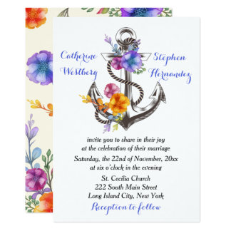 Nautical Boat Anchor Floral Blue Wedding Card