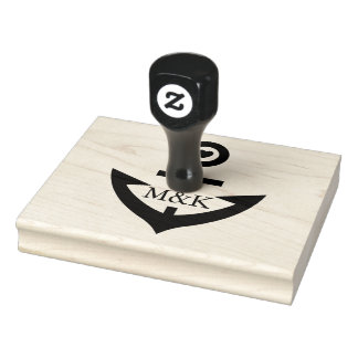 Nautical Boat Anchor With Customizable Monogram Rubber Stamp