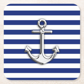 Nautical Chrome Anchor on Navy Stripes Print Square Paper Coaster