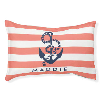 Nautical Coral Stripe Navy Anchor Personalized Pet Bed